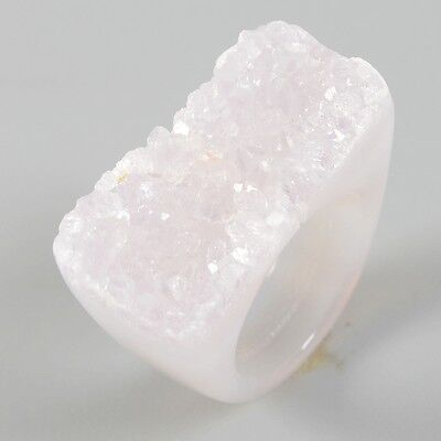 Size 8 Natural Agate Druzy Geode Ring T024185