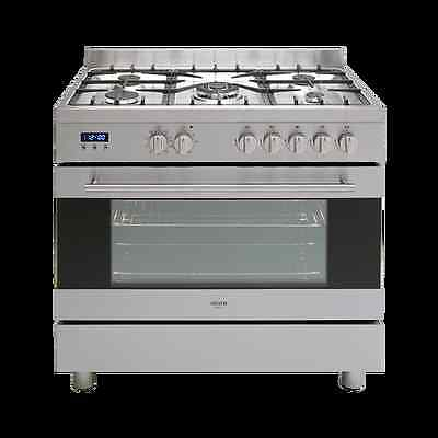 Euro 90cm Stainless Steel Dual Fuel Freestanding Cooker - Model: EV900DPSX