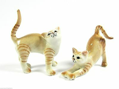 Miniature Ceramic Hand Painted Light Brown/Ginger Cats Playing - Set/2 Figurines