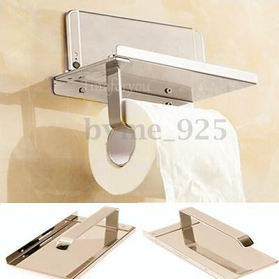 Stainless Roll Toilet Paper Tissue Phone Holder with Shelf Household Wall Mount
