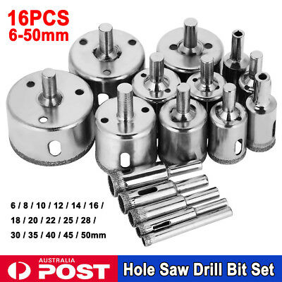16Pcs Diamond Hole Saw Set Holes Saw Drill Bit Cutter Tile Glass Marble Ceramic