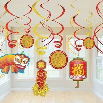 Chinese New Years Hanging Swirl Party Decoration X 12