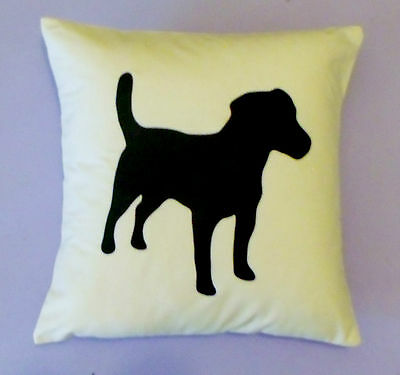 Monochrome dog cushion cover, Jack Russell, kids bedroom/ nursery/ any age decor