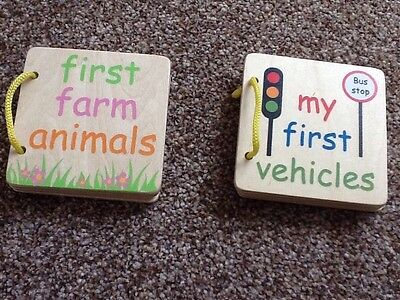 Bundle Of Two Wooden Baby Books - First Farm Animals And First Vehicles