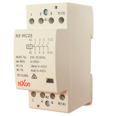 25A 4Pole - Normally Open - Din Rail Contactor