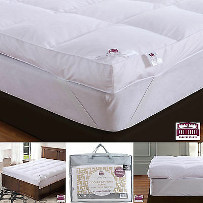 Extra Deep Luxury Goose Feather Down Mattress Topper Elasticated Strap Enhancer
