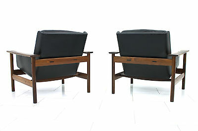 Pair of Rosewood and Leather Lounge Chairs by Sven Ivar Dysthe for Dokka, Norway