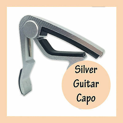 Silver Guitar Capo Aluminum Spring Trigger Electric Acoustic Clamp Quick Release