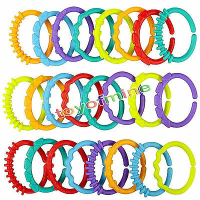 24pcs/lot Baby Toy Infant Rainbow Molar Teether Ring Chain Clutch Ring Gym play