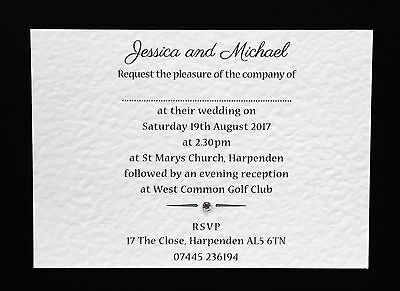 50 Handmade Personalised Wedding Invitations Day or Evening **Free Envelopes**