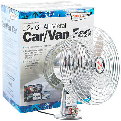"12v 6"" All Metal Car Van Fan Powerful Dual High Speed Dashboard Mount Air Cooler"