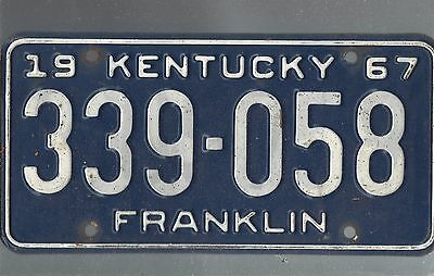 Vintage 1967  KENTUCKY CAR  license plate 339-058 THE AMON CARTER COLLECTION