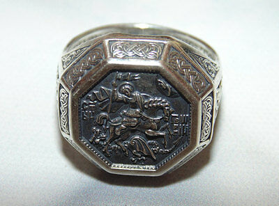 Mens Orthodox Signet Sterling Silver 925 Ring St George Dragon Slayer US Size 10