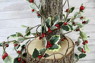 Artificial 4ft Holly Berry Chain Garland Christmas Floral Decoration Stairs Tree