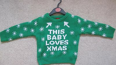 Children's Christmas Jumper 9-12 Months Green 'This Baby Loves Xmas ' New