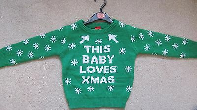 Children's Christmas Jumper 18-23 Months Green 'This Baby Loves Xmas ' New