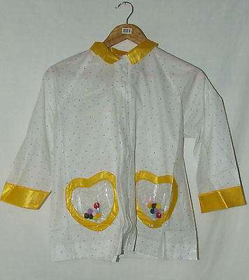 Childs Hooded Raincoat Size 6-7 years White & Yellow With Bag