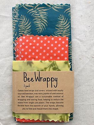 3 Pack - Beeswax & Cotton Reusable Natural Food Wraps and Covers