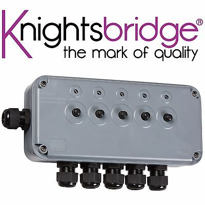 Knightsbridge IP66 13A 5 Gang Switch Box With 6 Cable Entries Outdoor Power