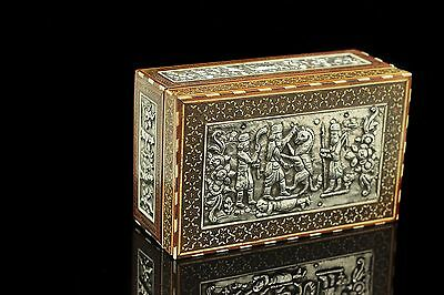 Antique Original Perfect Silver Persian Islamic Wood Amazing Box
