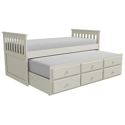 Cream Guest Bed/Captains Bed - Trundle Bed 3 Storage Drawers