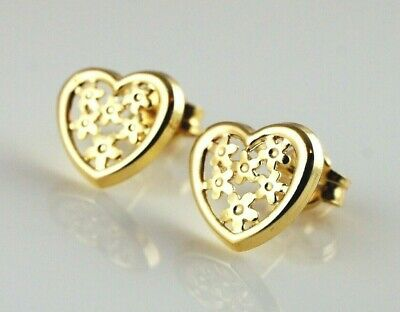 New 9ct Yellow Gold Filigree Heart Stud Earrings