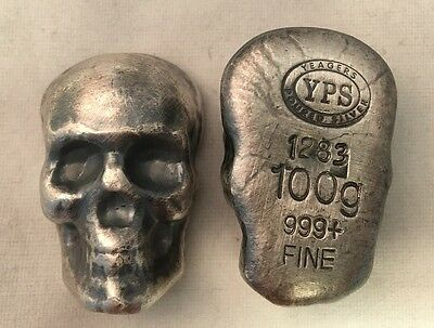 "100 gram 999 Silver Bullion ""Skull"" by YPS Yeager's (Antique Finish)"