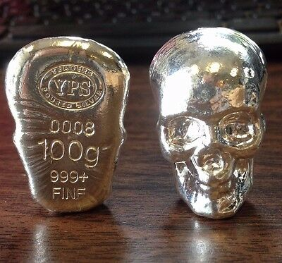 "100 gram 999 Silver Bullion ""Skull"" by YPS Yeager's Poured Silver"