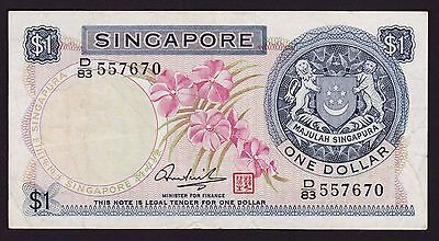 Singapore $1 One Dollar banknote 1972 P-1d