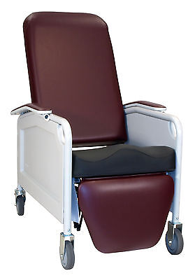 3 Position Lifecare Recliner w/out Tray Moss Green TB133, IV Pole @ Right Rear