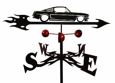 SWEN Products Handmade Ford Mustang Auto Car Weathervane with Garden Mount