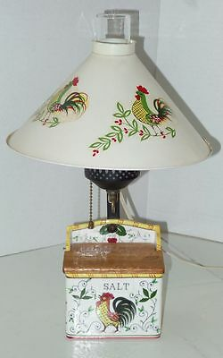 Vtg Ucagco Rooster Roses Salt Box Metal Shade Glass Chimney Pull Chain Lamp
