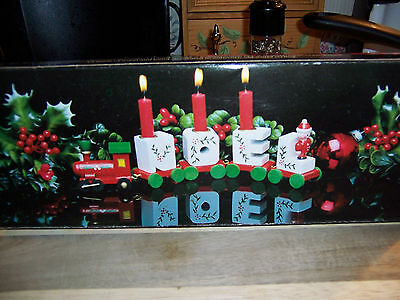 Vintage Wooden Noel Holiday Candle Train Set Christmas Decorative w/ Box