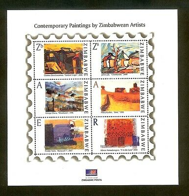 ZIMBABWE 2009 CONTEMPORARY PAINTINGS Art  Minisheet  MNH