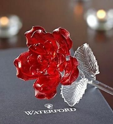 Waterford Fleurology Red Glass Rose FREE FEDEX SHIPPING