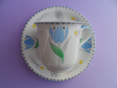 """Shelley """"Tulips"""" 11941 Vincent shape demitasse/coffee cup & saucer. C.1932."""