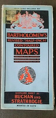 """Bartholomews Revised 1/2"""" Cloth Mounted Map  Buchan And Strathbogie No 22"""