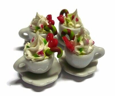 4 Cups of Cappuccino with Candy Cane Dollhouse Miniatures Food Christmas Bakery