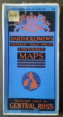 Bartholomews Revised Half Inch Cloth Mounted Map Central Ross No 20