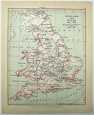Vintage Map of England & Wales 1485-1603 by Longmans Green 1907
