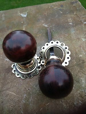 Original Old 1920s Mahogany & Brass Door Knobs