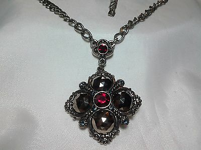 Vintage Estate 1928 Silver Red Blue Chrome Rhinestone Maltese Pendant Necklace
