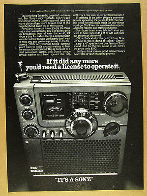 1978 Sony ICF-5900W FM AM short wave CB radio photo vintage print Ad