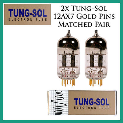 New 2x Tung-Sol Gold 12AX7 / ECC803S   Matched Pair / Duet / Two Tubes Gold Pins