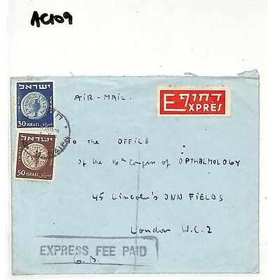 AC109 1950 *Israel* London Express Fee Paid Cover