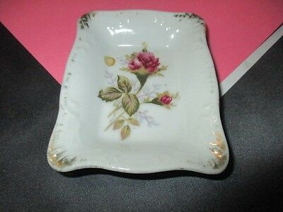 Moss Rose Porcelain Butter Pat Dish Pin Ring Tray Shafford Japan