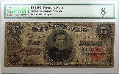 1890 $5 Treasury Note Very Good 8 PMG Fr#361 Scarce Issue