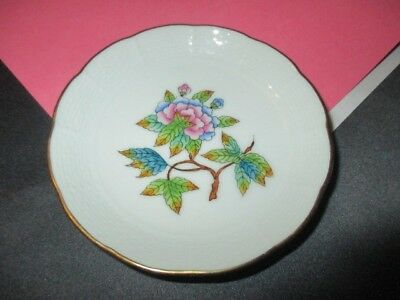 """Queen Victoria Peony Herend Fine Porcelain Ring Pin Tray 4"""" Jam Plate"""