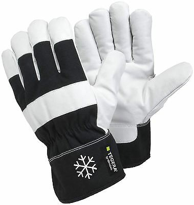 TEGERA 377 Black White Warm Winter lined Leather Thermal Work Gloves