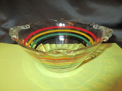 Sauce Candy Dish Bowl Hocking Banded Rainbow Rings & Cane Depression Glass